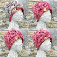 Reversible Hat. Knitted Hat. Woolly Hat. Beanie. Slouchy. Woollen Hat. Wool Hat.