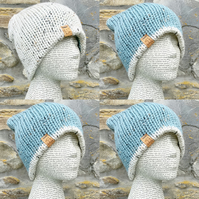 Reversible Hat. Beanie. Knitted Hat. Woolly Hat. Slouchy. woollen Hat. Blue Hat.