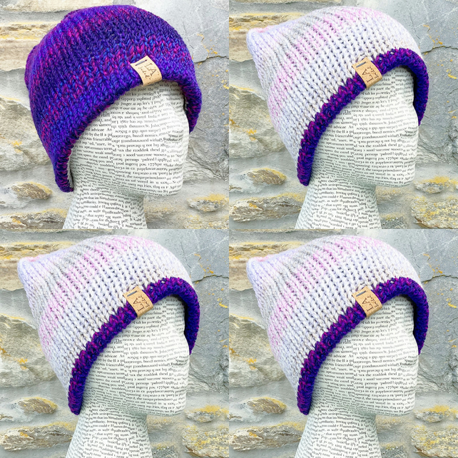 Reversible Hat. Knitted Hat. Woolly Hat. Winter Hat. Woollen Hat. Beanie.