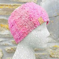 Soft Neck Warmer. Hand Knitted Scarf. Headband. Pink Neck Warmer.