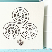 Celtic Knot. Hand Sewn Card. Celtic Triskele Card. Scottish Card. Charm Card.
