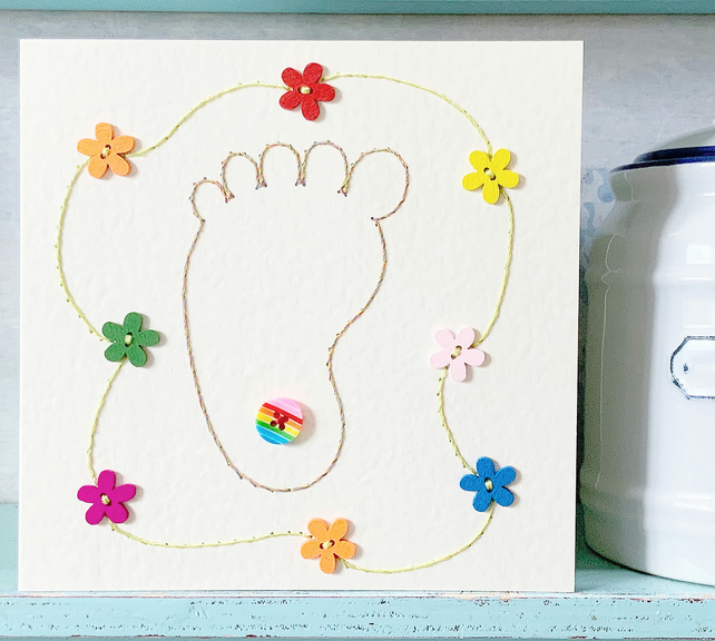 Rainbow Baby Card. Hand Sewn Card. New Baby Card. Baby Shower Card. Baby.