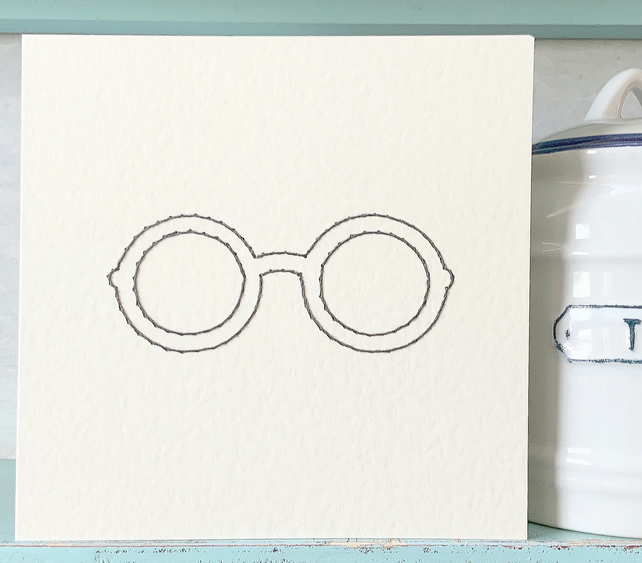 Reading Glasses. Hand Sewn Card. Blank Card. Exam Card. Spectacles Card.