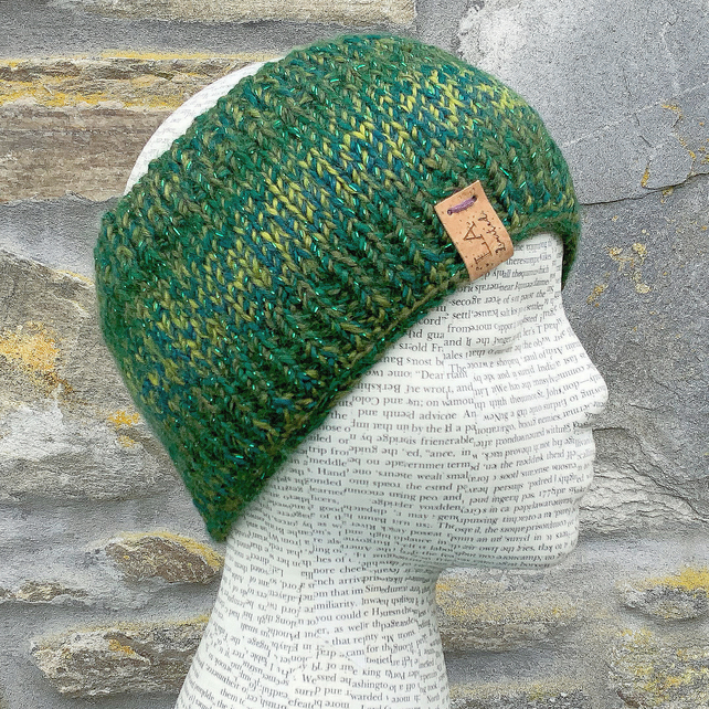 Sparkling Headband. Hand Knitted Headband. Neck Warmer. Scarf. Green Neck Warmer