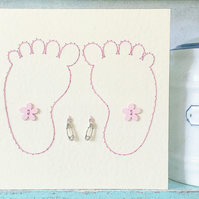 Twins Card. Hand Sewn Card. New Baby Card. Baby Girl Card. Baby Shower Card.
