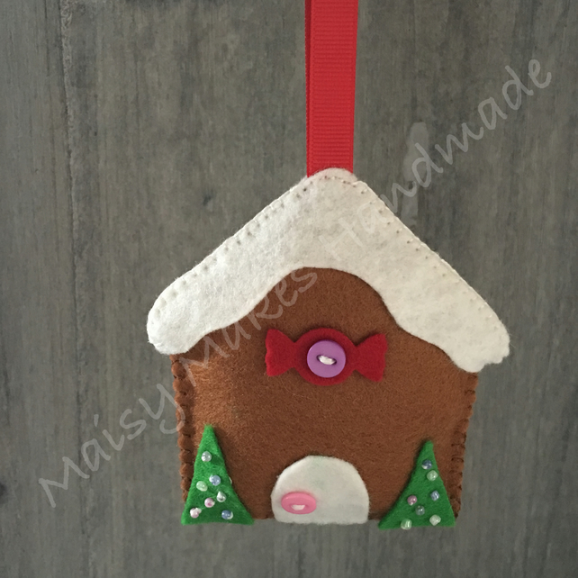 Christmas Gingerbread House 100% Wool Felt Hanging Decoration