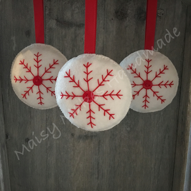 Christmas Snowflake Multi Pack x 3 100% Wool Felt Hanging Decoration