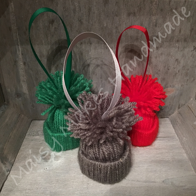 Christmas Bobble Hat Multi-Pack Hanging Decoration