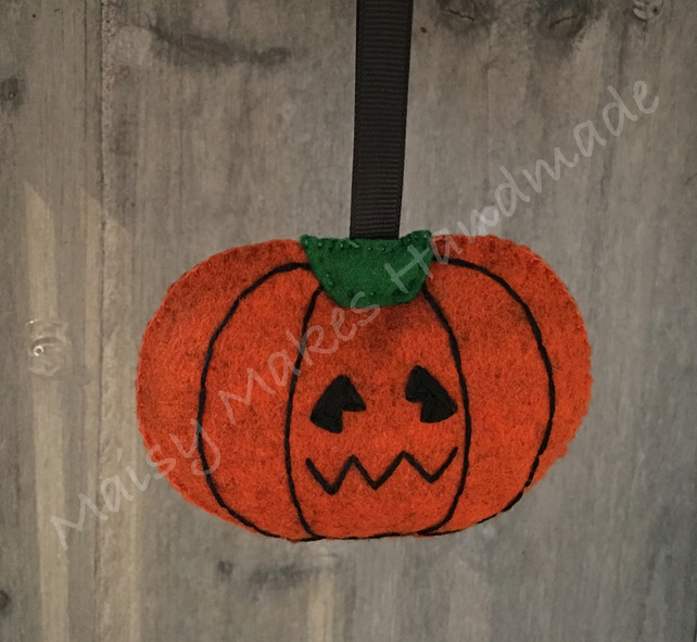 Halloween Pumpkin 100% Wool Felt Hanging Decoration