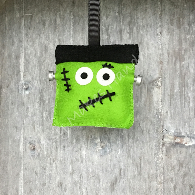 Scary Frankenstein Halloween 100% Wool Felt Hanging Decoration