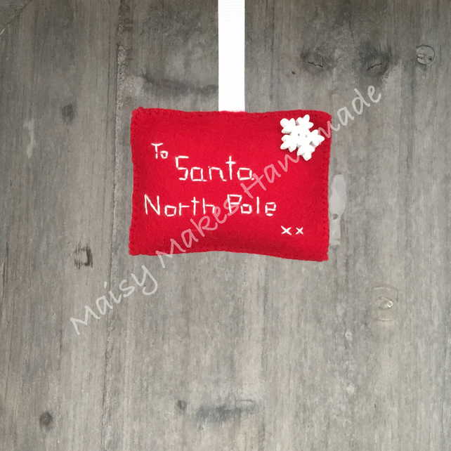 Christmas 'Letter to Santa' 100% Wool Felt Hanging Decoration