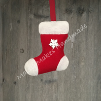 Christmas Stocking 100% Wool Felt Hanging Decoration in Red & White