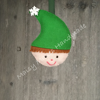 Jolly Christmas Elf 100% Wool Felt Hanging Decoration