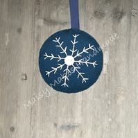 Christmas Snowflake 100% Wool Felt Hanging Decoration in Blue