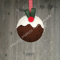 Christmas Pudding 100% Wool Felt Hanging Decoration