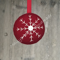 Christmas Snowflake 100% Wool Felt Hanging Decoration in Burgundy