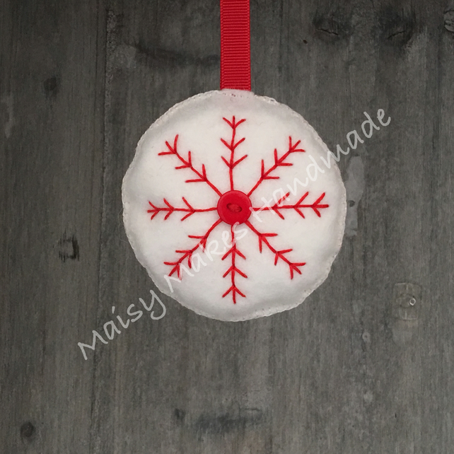 Christmas Snowflake 100% Wool Felt Hanging Decoration in White