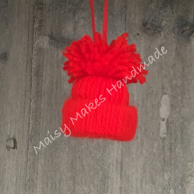 Christmas Bobble Hat Hanging Decoration in Christmas Red