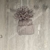 Christmas Bobble Hat Hanging Decoration in Winter Grey