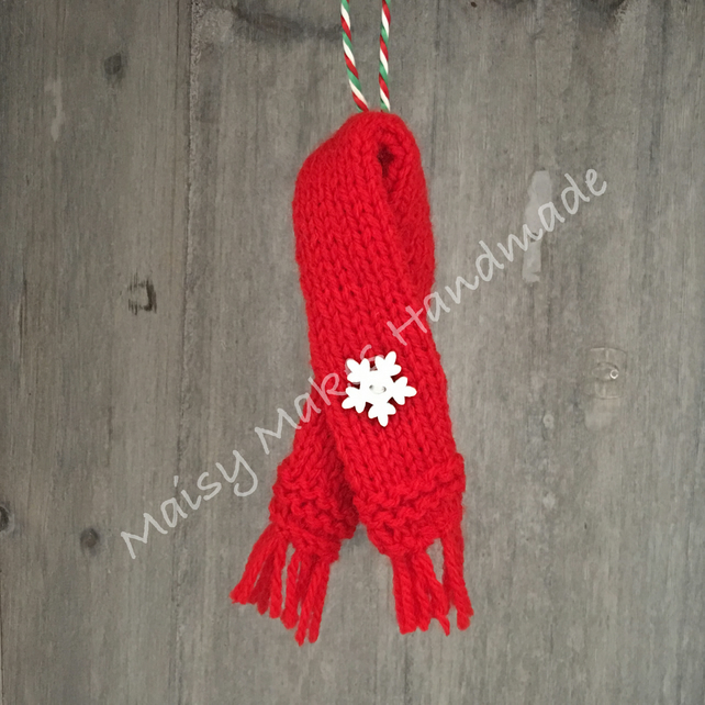 Winter Woolly Scarf - Handmade Wool Decoration in Red