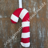 Christmas Felt Candy Cane Hanging Decoration