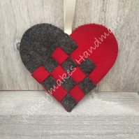 Scandinavian Woven Heart, 100% Wool Felt Hanging Decoration