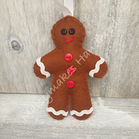 Gingerbread Man 100% Wool Felt Hanging Decoration