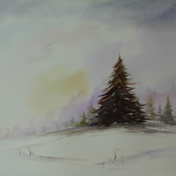 The perfect christmas Tree, Original Watercolour Painting.