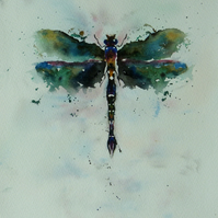 Dragonfly, Original Watercolour Painting.