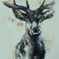 Majestic Stag, Original Watercolour Painting.