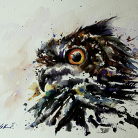 Owl, Original Watercolour Painting.