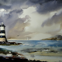 Penmon Lighthouse, Original Watercolour Painting.