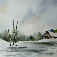 Winter Barn, Original Watercolour Painting.