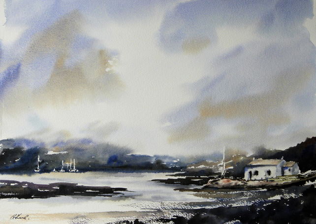 Boathouse, Original Watercolour Painting.