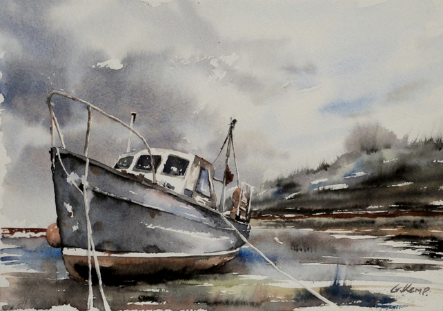 Boat, Original Watercolour Painting.