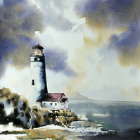Lighthouse, Original Watercolour Painting.