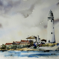 St Mary's Lighthouse, Original Watercolour Painting.