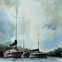 Boats, Original Watercolour Painting.