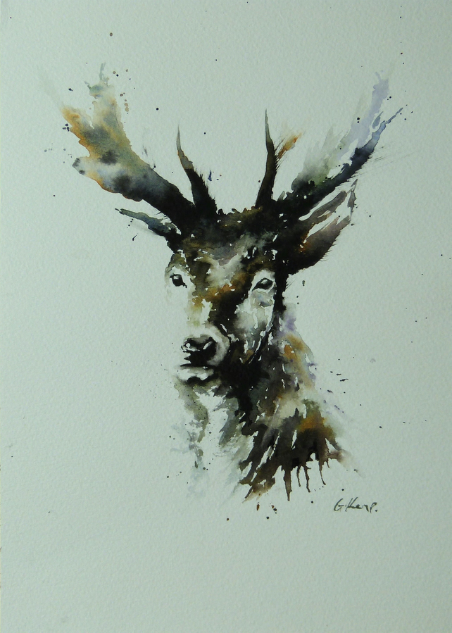 Stag Head, Original Watercolour Painting.