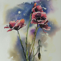 Poppies, Original Watercolour Painting.