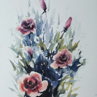 Winter Rose, Original Watercolour Painting.