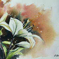 Lily, Original Watercolour Painting.