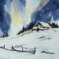Barn in Snow, Original Watercolour Painting.