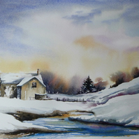 Winter Scene, Original Watercolour Painting.