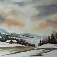 Snowy Staffordshire, Original Watercolour Painting.