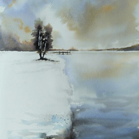 Tree by Lake, Original Watercolour Painting.
