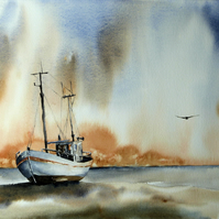 Fishing Boat, Original Watercolour Painting.