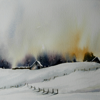 Cold Farm, Original Watercolour Painting.