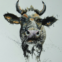 Kissing Cow, Original Watercolour Painting.
