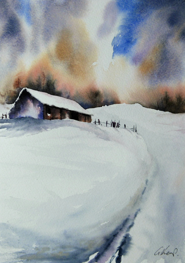 Barn on Hill, Original Watercolour Painting.